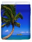 Paradise Palm Over Lanikai Duvet Cover