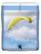 Paraglider Floating In The Clouds Duvet Cover