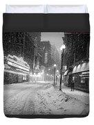 Paramount Snowstorm Boston Ma Washington Street Black And White Duvet Cover