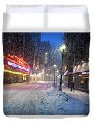 Paramount Snowstorm Boston Ma Washington Street Duvet Cover