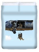 Pararescuemen Are Hoisted Into An Hh-60 Duvet Cover