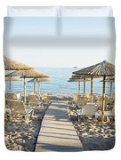 Parasol And Sunbeds At Sunset Duvet Cover