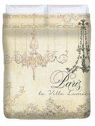 Parchment Paris - City Of Light Chandelier Candelabra Chalk Duvet Cover