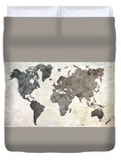Parchment World Map Duvet Cover