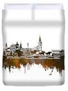 Pardubice Skyline City Brown Duvet Cover