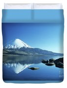 Parinacota Volcano Reflections Chile Duvet Cover