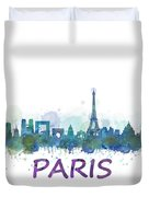 Paris City Skyline Hq Watercolor V3 Duvet Cover