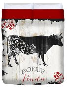 Paris Farm Sign Cow Duvet Cover