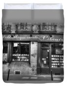 Paris France Book Store Library Black And White Duvet Cover