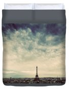 Paris, France Skyline With Eiffel Tower. Dark Clouds, Vintage Duvet Cover