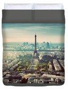 Paris, France Vintage Skyline, Panorama. Eiffel Tower, Champ De Mars Duvet Cover