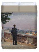 Paris From The Observatory At Meudon Duvet Cover by Jules Ernest Renoux