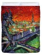 Paris Gargoyle Contemplation Textural Impressionist Stylized Cityscape Duvet Cover