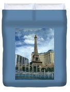Paris Hotel And Bellagio Fountains Duvet Cover