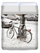 Paris In Snow Duvet Cover