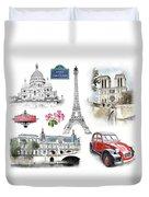 Paris Landmarks. Illustration In Draw, Sketch Style.  Duvet Cover