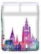 Amsterdam Landmarks Watercolor Poster Duvet Cover