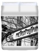 Paris Metro Sign Bw Duvet Cover