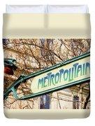 Paris Metro Sign Color Duvet Cover