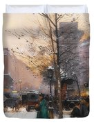 Paris, Porte Saint Denis In Winter Duvet Cover