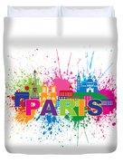 Paris Skyline Paint Splatter Text Illustration Duvet Cover