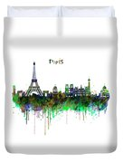 Paris Skyline Watercolor Duvet Cover