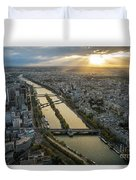 Paris Sunrays Dusk Along The Seine Duvet Cover