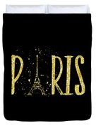 Paris Typografie - Gold Splashes Duvet Cover