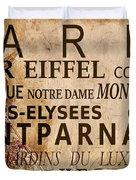 Paris Vintage Poster Duvet Cover by Delphimages Photo Creations