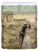 Paris With A Kiss Photo Collage Duvet Cover