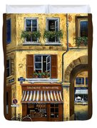 Parisian Bistro And Butcher Shop Duvet Cover by Marilyn Dunlap