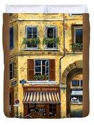 Parisian Bistro And Butcher Shop Duvet Cover