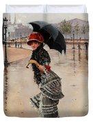 Parisienne On A Rainy Day Duvet Cover