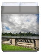 Park Bench Along Capitol Lake In Olympia Washington Duvet Cover