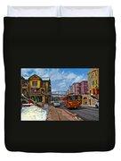 Park City Trolley Car Duvet Cover