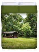 Park Shelter In Lush Forest Landscape Duvet Cover