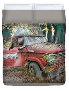 Parked On A Country Road Watercolors Painting Duvet Cover