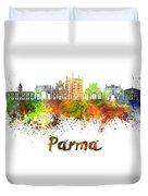 Parma Skyline In Watercolor Duvet Cover