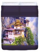 Paro Taktsang Monastery Bhutan Duvet Cover