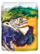 Parrot Ara Watercolor Painting Duvet Cover