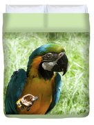 Parrot Eating Nut Duvet Cover