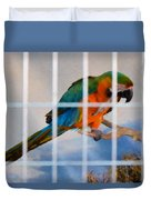 Parrot In A Cage Duvet Cover
