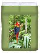 Parrot In Tropical Setting Duvet Cover