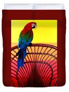 Parrot Sitting On Chair Duvet Cover by Garry Gay