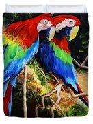 Parrots In The Jungle Duvet Cover