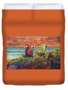 Parrots On Sunset Beach Duvet Cover