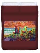 Parrots On The Beach Painterly Duvet Cover