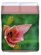 Partially Open Pink Lily Blossom Duvet Cover