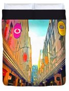Passage Between Colorful Buildings Duvet Cover