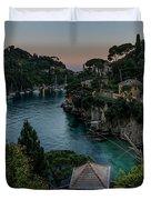 Nervi Coast With Train - La Scogliera Di Nervi E Il Suo Treno Duvet Cover